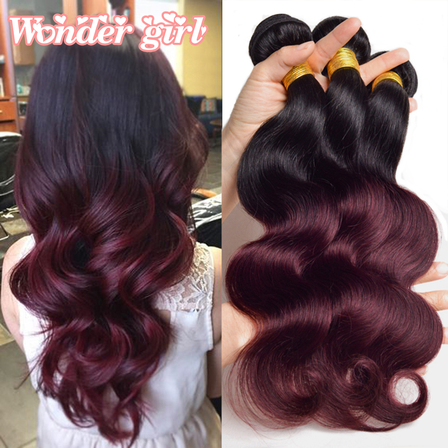 1b burgundy brzilian body wave hair 3 bundles ombre human hair brazilian body wave 1b 33 1b 99j - Ombre hair marron ...