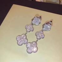 Brand Pure 925 Sterling Silver Jewelry For Women Drop Flower Earrings Cubic Zirconia 3 Clover Stud