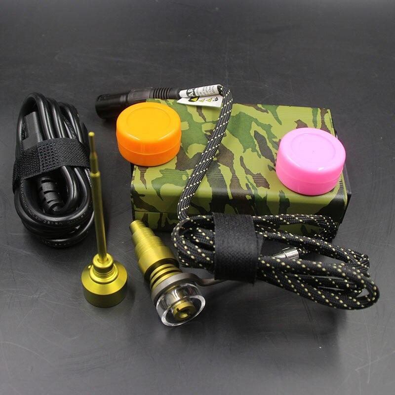 Kits d'enail de contrôle de température ArmyGreen bobine de chauffage bouchon de carbure de titane de Quartz doré bouchon de Silicone Dab pour tuyaux