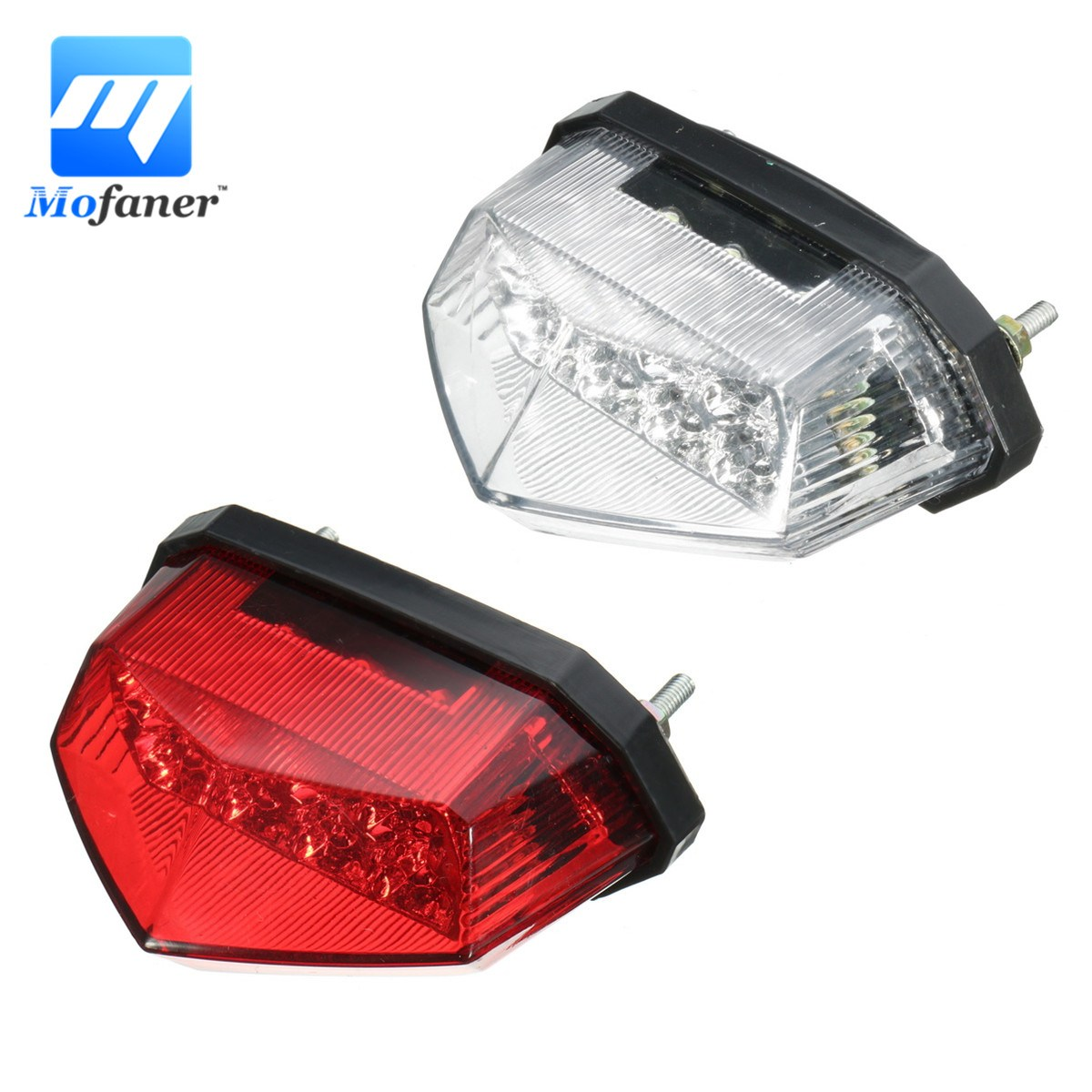 Mofaner Motorcycle ATV Tail Light 11 LEDs Motorbike License Plate Rear Tail Light Stop Brake Lamp
