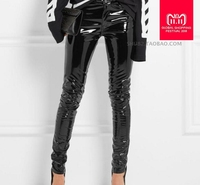 Fashion Patent leather pu pants with pocket female 2017 winter was thin high waist leisure shiny pu leather pencil pants wj1612