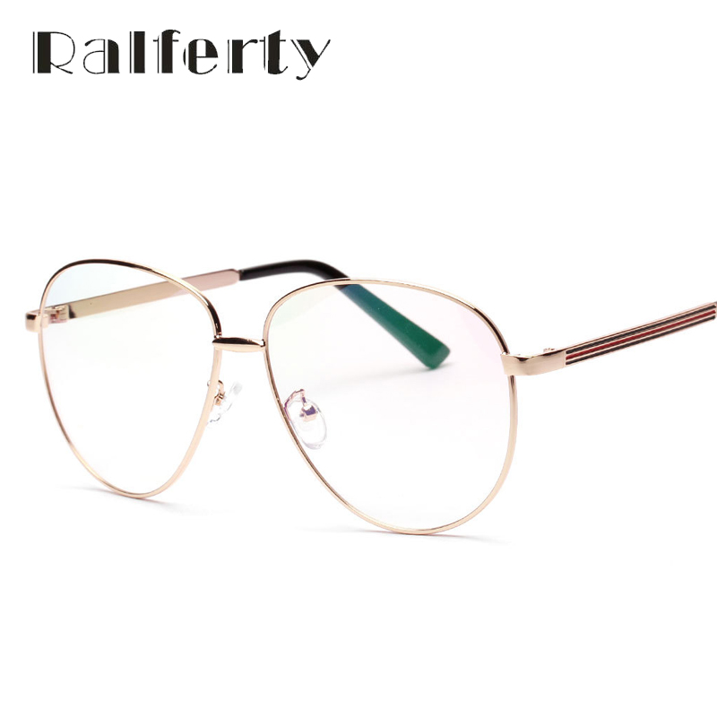 ralferty oversized pilot eyeglasses with clear lens vintage computer goggles women men myopia optic frames gold metal oculos