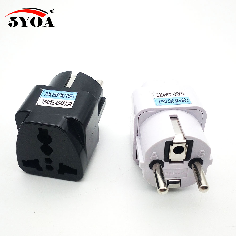 International Travel Universal Adapter Electrical Plug For UK US EU AU To EU European Socket Converter White Black