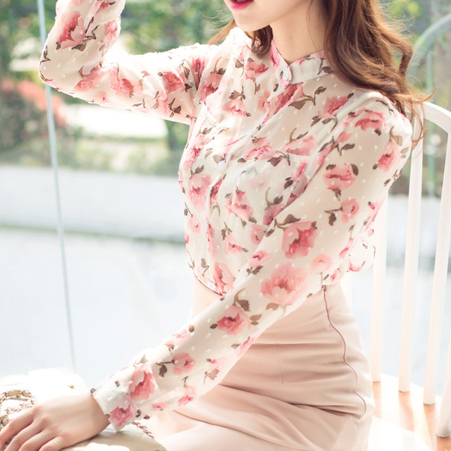 Top floral summer women chiffon tops blouses floral print korean clothing long sleeve women's summer blouses feminine