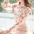 Top floral verão mulheres chiffon tops blusas floral impressão clothing coreano verão das mulheres de manga longa blusas femininas