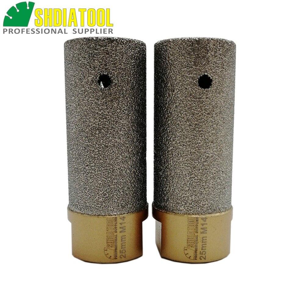 SHDIATOOL 2pcs 25mm Vacuum Brazed Diamond finger bits With M14 Thread Enlarge shape round bevel existing