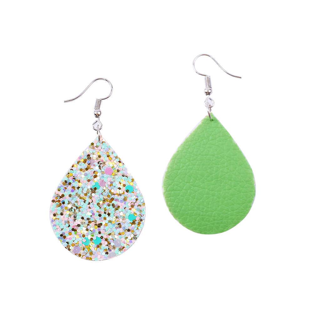 David accessories 2018 Hot Fashion Glitter Teardrop Leather Earrings DIY Girl Women Jewelry Earrings Wholesale,1Yc4129