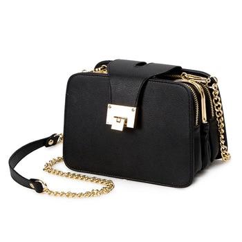 2018 nueva moda de primavera de las mujeres cadena de la bolsa Correa solapa diseñador bolsos de embrague bolsa señoras bolsas de mensajero con hebilla de Metal.