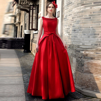 Women Ball Gown Dress Bride Wedding Evening Party Dress Sleevless Bow Spring Fashion Long Formal Dress Empire Solid Pattern New
