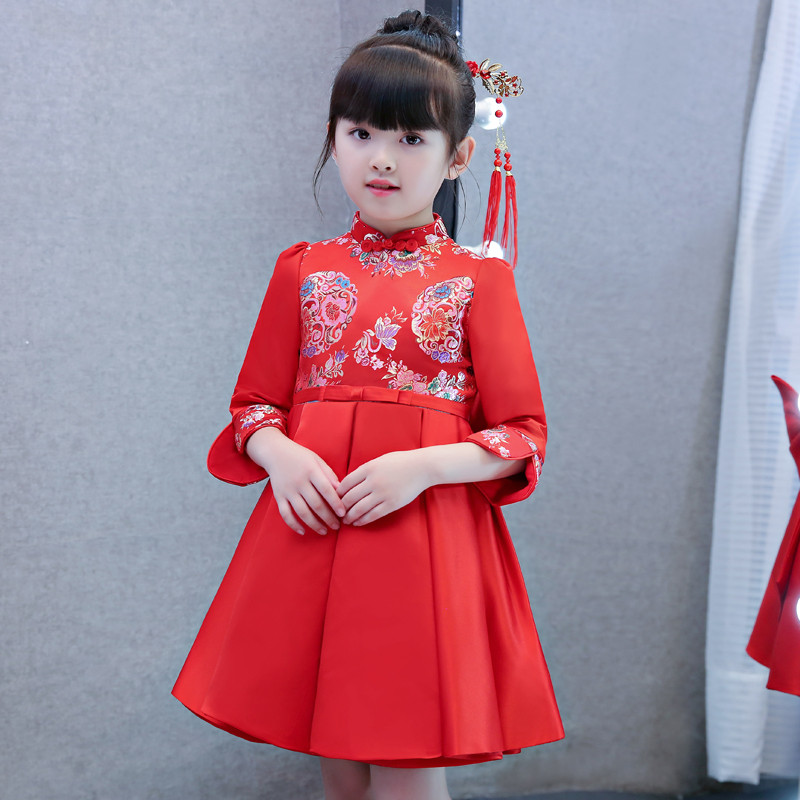 New Chinese Style Autumn Winter Warm Children Girls New Year Embroidery Flowers Cheongsam Dress TangZhuang Babies Birthday Dress mercier р night train to lisbon