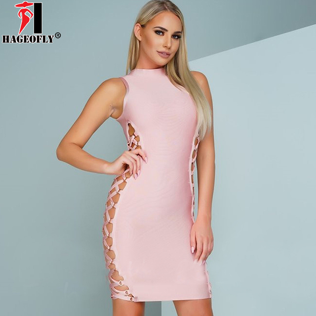 HAGEOFLY 2018 New Rayon Bandage Dress Nude Pink Black Hollow Out Side Mini Sexy  Party Dresses e364975aa823