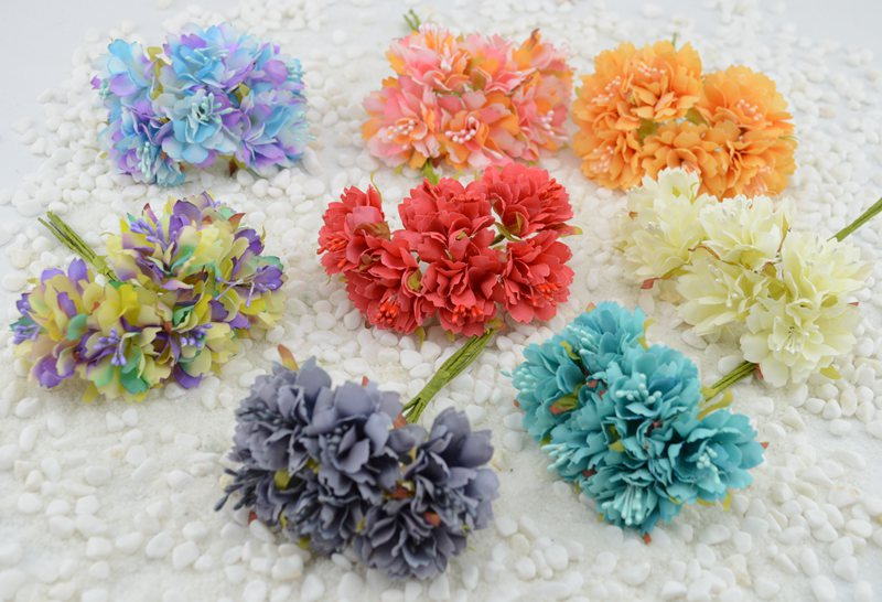 6pcs/lot Carnation artificial flowers silk flower bridal headdress DIY materials handmade decorative flower