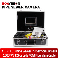 40m Cable Video Pipe Inspection Camera Cmos 800TVL 8Pcs White LED Lights Sewer Camera 7 Inch