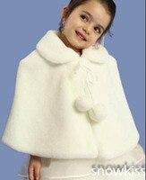White Ivory Red Black Girls Cape Wedding Cloaks Faux Fur Jacket For Winter Kid Flower Girl