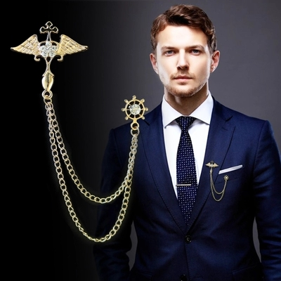 Winwinfly Punk Brooch for Men Suit Pin Vintage Chain Brooch Suit Shirts Accessories