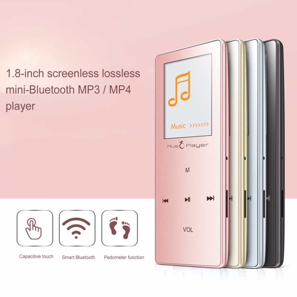 LESHP Mini Bluetooth Metal MP3 MP4 Player HIFI Lossless Sound music Player FM Radio Pedometer Video Recorder E-book Reading 8GB