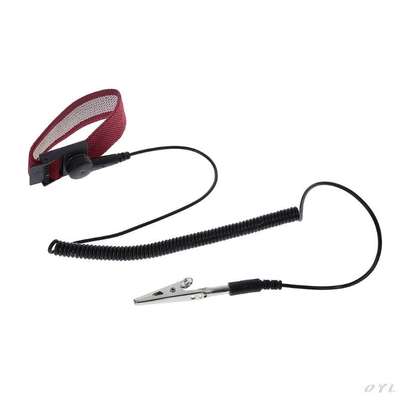 ESD Anti Static Adjustable Metal Wrist Strap Band Bracelet Clips Grounding