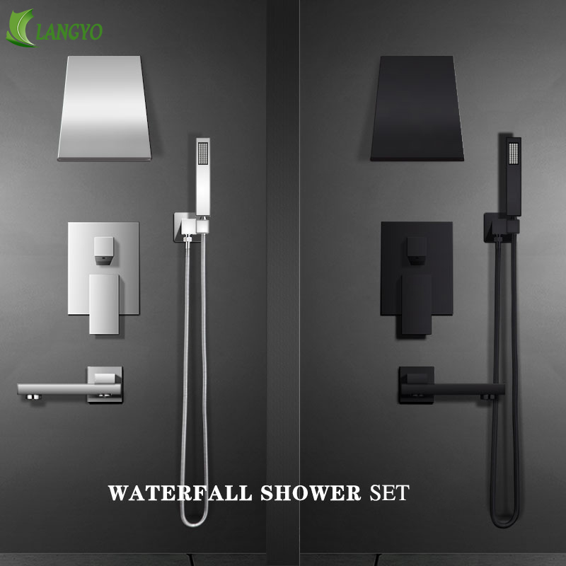 Chrome Brass Shower Faucets black Waterfall shower set Rain taps bathroom Concealed mixer faucet wall mounted