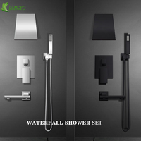 Chrome Brass Shower Faucets black Waterfall shower set Rain taps bathroom Concealed mixer faucet wall mounted shower armatur