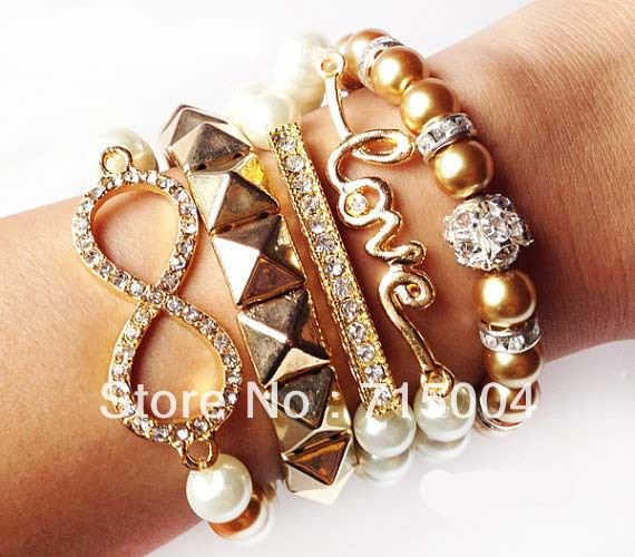 5 Pc Arm Candy Bracelet Sets Party Stack Brown Style Infinity