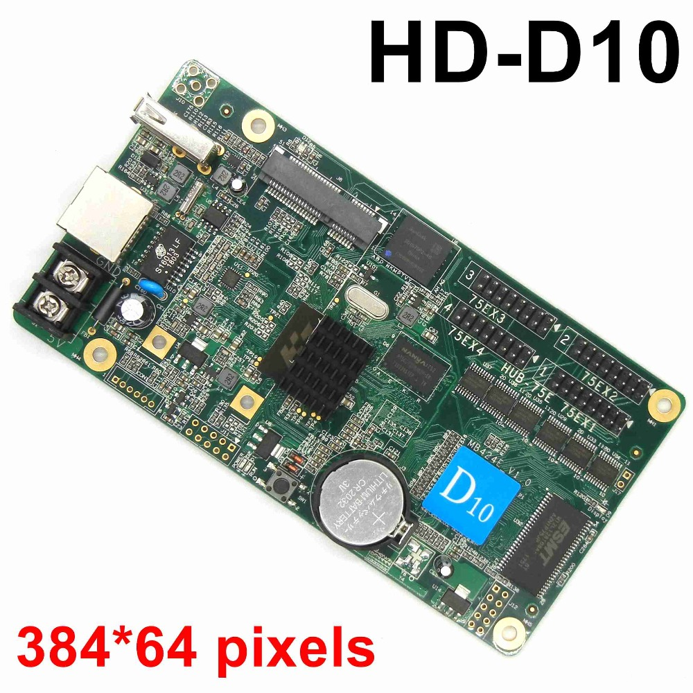HD-D10 asynchronous USB full color led control card video rgb U disk LED controller 384*64 pixels display screen 4*hub75E ports diy kit p10 led display advertising outdoor full color module 4 pcs d10 control card 1 pcs jn power supply 1 pcs