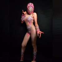 Sexy Pink Rhinestones Drama Jumpsuit Nightclub Bar Dance Stage Show Stretch Overalls Playsuit Party Play Entertainment Costume