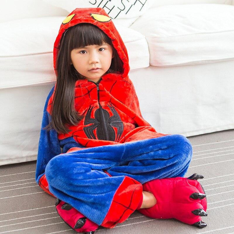 Winter Baby Boy Siamese Home Clothes Clothing Cartoon Spider-Man Children Warm Flannel Girl Home Clothes Siamese Clothing