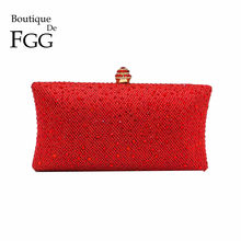 Boutique De FGG Ruby Red Diamond Women Clutch Evening Bags Shiny Glitter Wedding Purses and Handbags Ladies Party Crystal Bag(China)