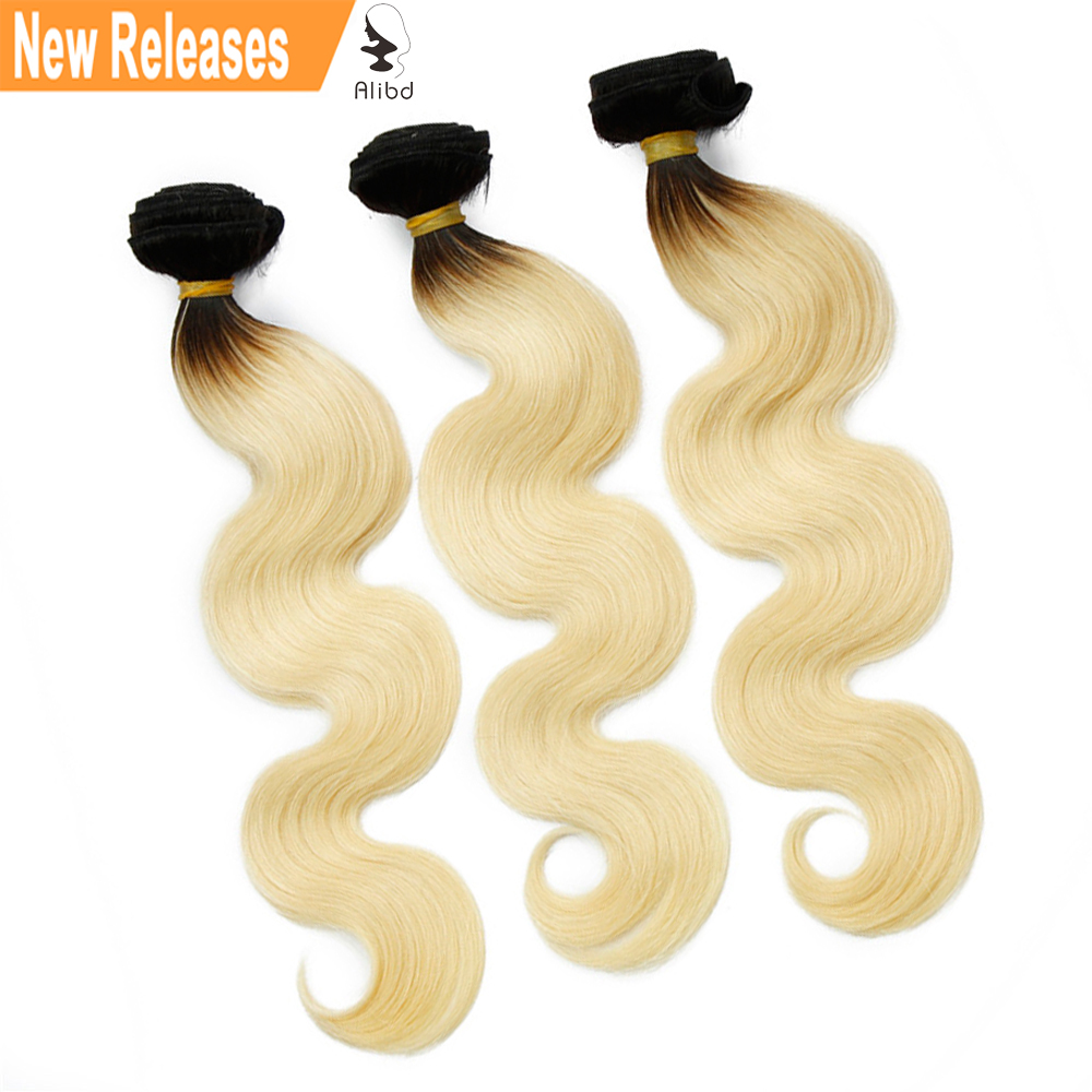 Alibd #1B/613 Body Wave Ombre Human Hair Blonde Color Bundles Indian Virgin Hair 300grams Free Shipping