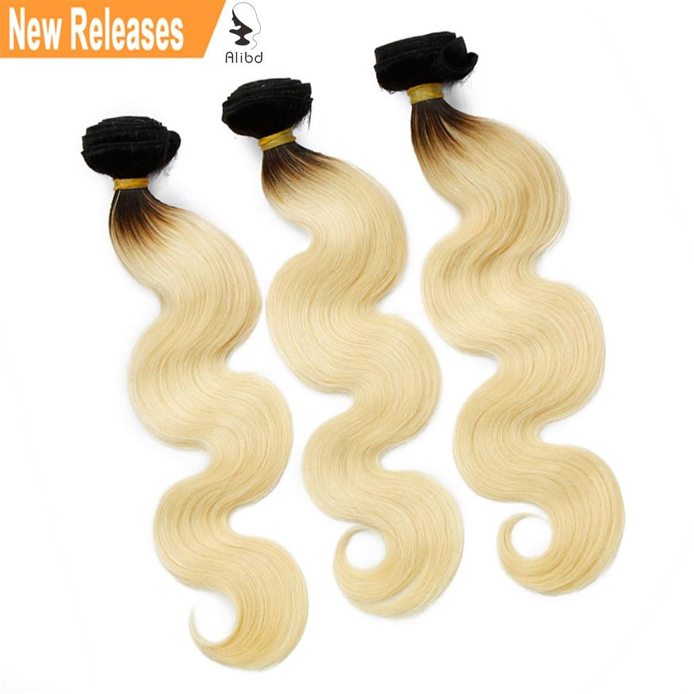 Alibd #1B/613 Body Wave Ombre Human Hair Blonde Color Bundles Indian Virgin Hair 300grams Free Shipping