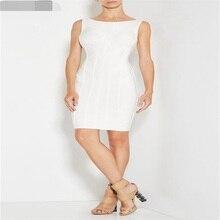 2016 neue Frauen Sommer Bodycon Weiß O Neck Striped Sleeveless Reizvolles Abendgesellschaft Verbandkleid AA-878