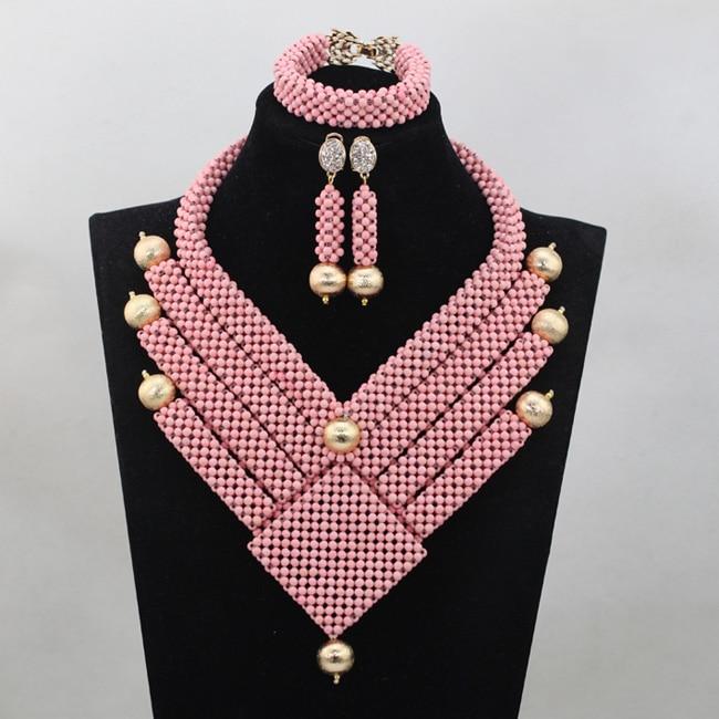 Wonderful Pink Indian Bridal Bib Statement Necklace Set Fashion Dubai Gold Bridal Pink Jewellery Set New Free Shipping WD635