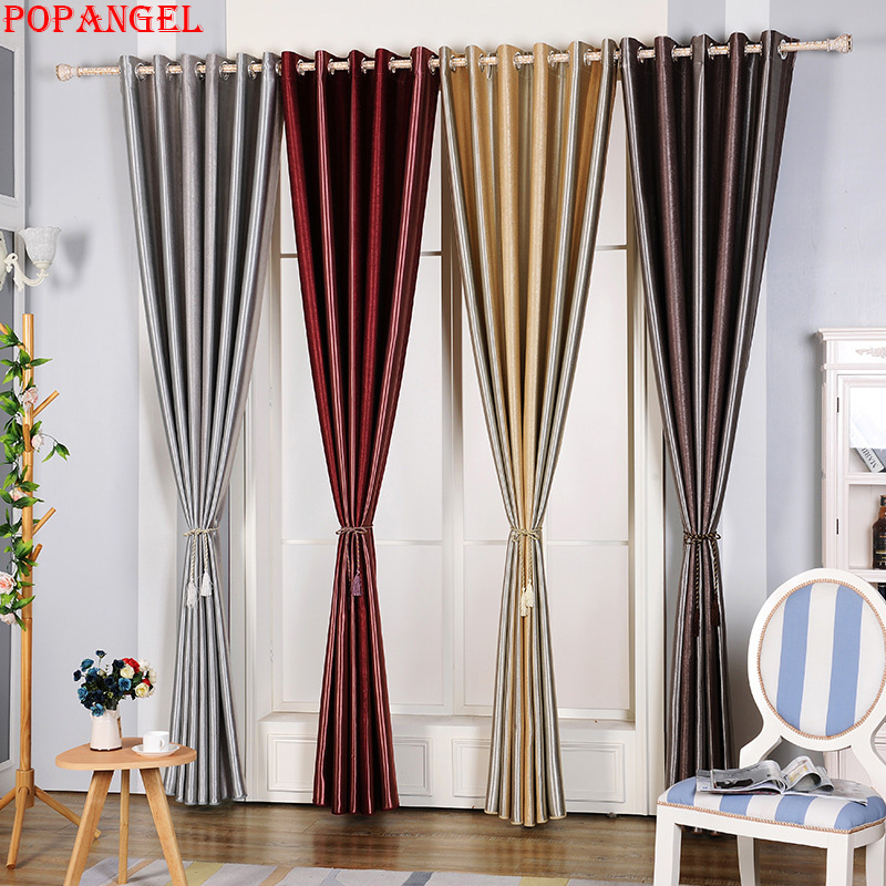 Popangel Hot Sale 4 Colors Available Stripe Blackout Thermal Insulated Classic Living Room Window Finished Curtain Fabric