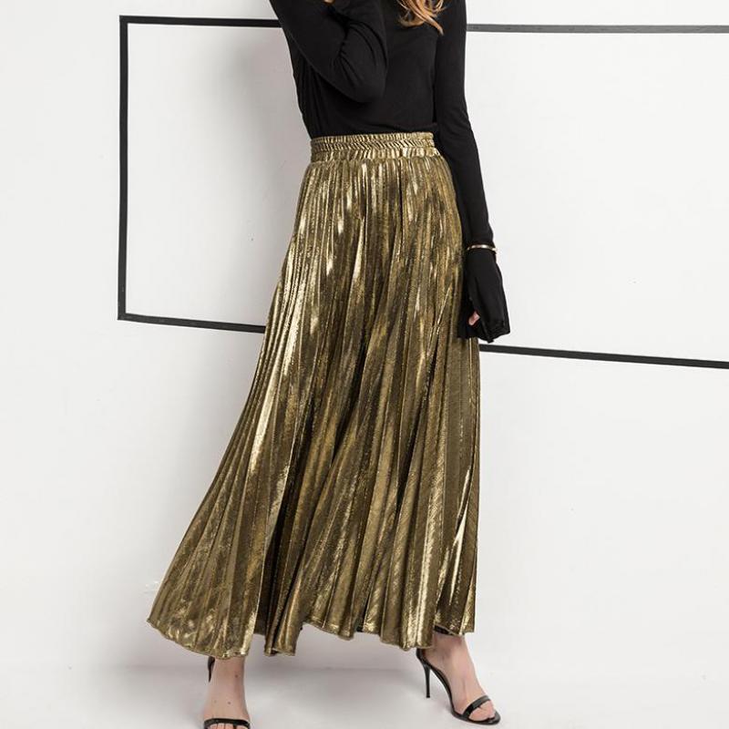 2019 Женская юбка новая летняя длинная юбка модная цветная универсальная тонкая плиссированная юбка Бесплатная доставка