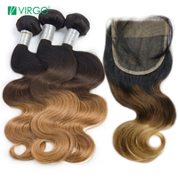 Ombre Body Wave Bundles with Closure Brazilian Hair Weave Human Hair 3 Bundles with Closure #1b/4/27 Virgo Hair Remy Weave
