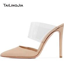 купить Women Pointed Toe Slippers Fashion Thin High Heels Women Mules PVC Transparent Lady Shoes Apricot Plus Size Pumps Free Shipping по цене 3893.11 рублей
