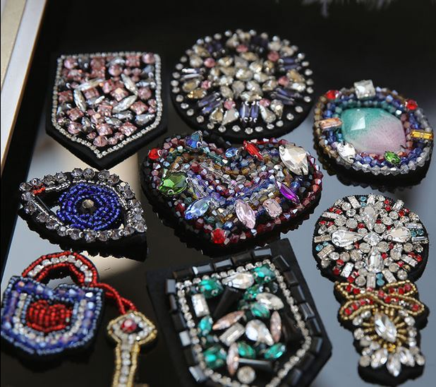 3D Handmade Rhinestone beaded Patches for clothing Heart eyes trophy parches bordados para ropa Sequins appliques diy