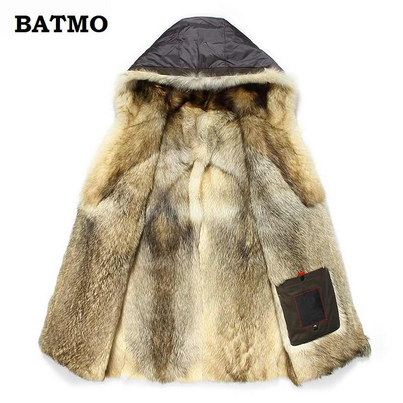 Batmo 2019 new arrival winter high quality warm wolf fur liner hooded jacket men,Hat Detachable winter parkas men 1125