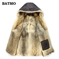 Batmo 2019 new arrival winter high quality warm wolf fur liner hooded jacket men,Hat Detachable winter parkas men 1125
