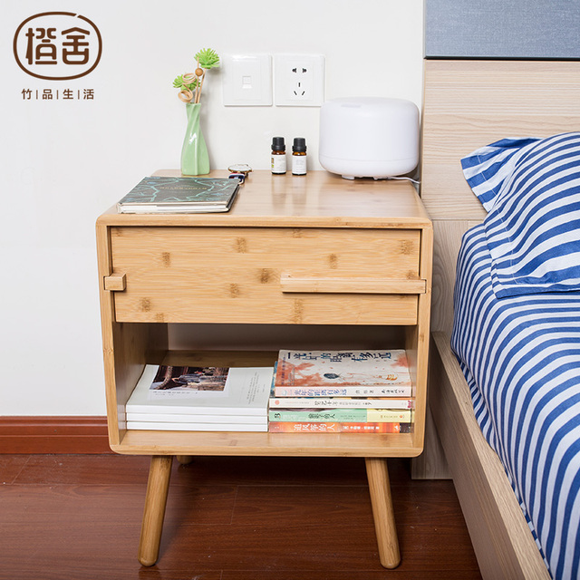 ZENS BAMBOO Bedside Storage Drawer Cabinet Simple Design Night Table Bedroom Livingroom Furniture