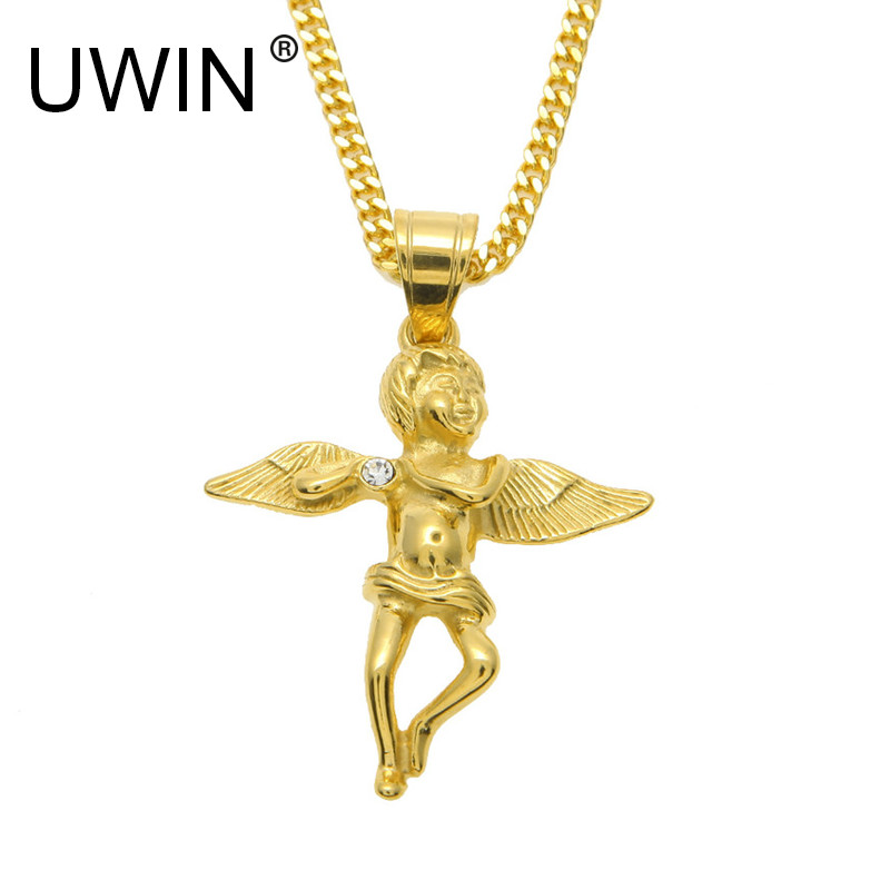 Uwin men gold angel wings pendant stainless steel 24k gold color uwin men gold angel wings pendant stainless steel 24k gold color with rhinestone angel baby pendant necklace hip hop jewelry in pendants from jewelry aloadofball Choice Image
