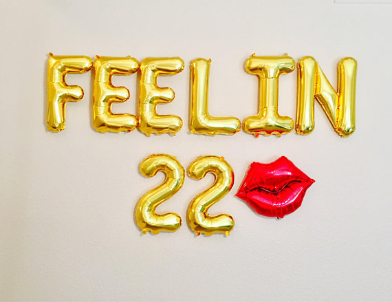 gold or silver feelin 22 with red lip birthday letter balloons banners photo backdrops party decorations