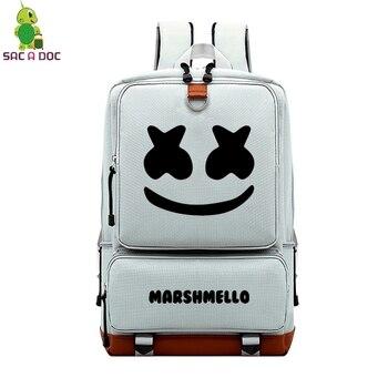 ac8c2445da5d Холщовый Рюкзак Antirrobo Mochila Hombre Mochilas De Viaje Sirt Cantasi  Marshmello Kawaii Белый большой рюкзаки Rugtas