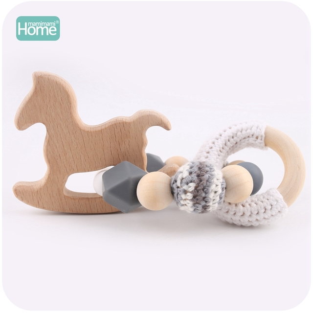 MamimamiHome 2pc Baby Rattle Beech Horse Wood Teething Crochet Beads Bracelets Montessori Toys For Children Baby Crochet Toys