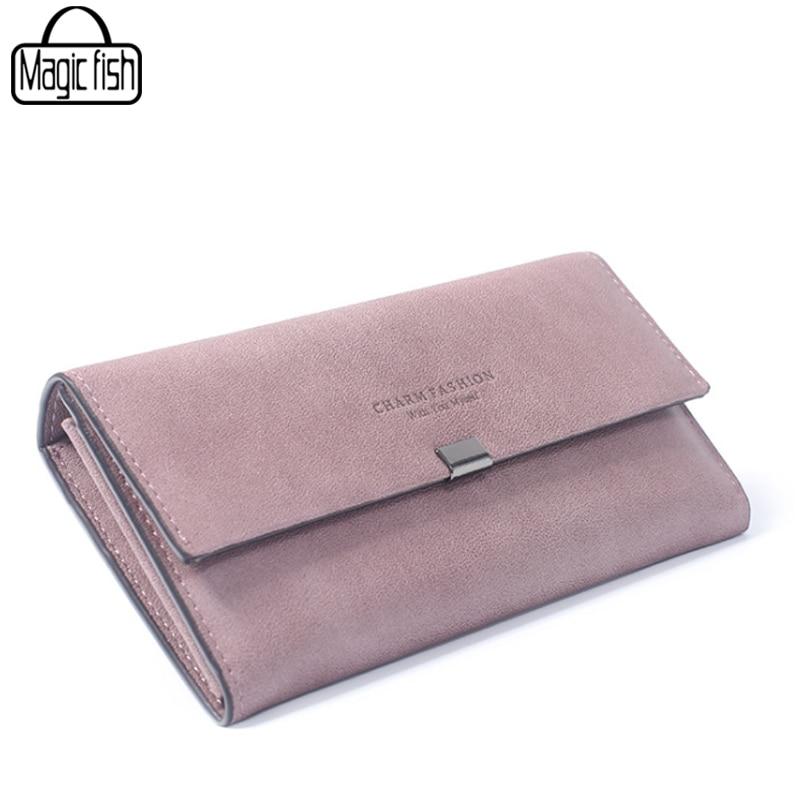 Fashion Long Style Matte Leather Simple Women Wallet Vintage Lady Clutch Women Wallets Female Purses Leather Wallet Lady A4011/l