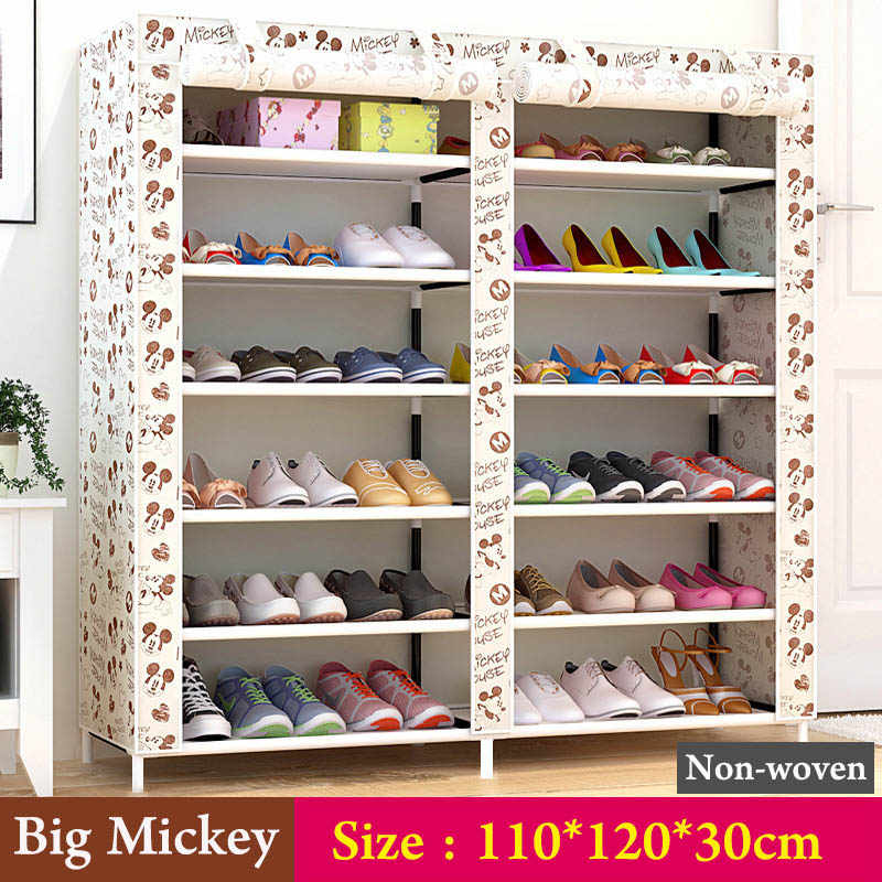 ... Double Row Shoes Cabinet Fashion Painting Non Woven Fabrics Large Shoe  Rack Organizer Removable Shoe ...