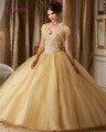 Loverxu Elegante Querida vestido de Baile Quinceanera 2016 Frisada de Cristal de Organza Debutante Vestido Para 15 Anos Plus Size