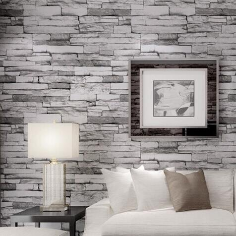 pvc wallpaper 3d stone brickdesign wallcovering 10m wood blocks effect brown wall paper roll. Black Bedroom Furniture Sets. Home Design Ideas