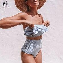 Sexy Retro Blue White Striped Bandeau High Waist Bikini 2019 Lady Swimwear Women Swimsuit Female Ruffle Ruched Swim Bathing Suit