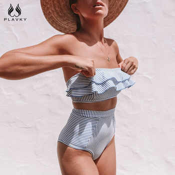 Sexy Retro Blue White Striped Bandeau High Waist Bikini 2019 Lady Swimwear Women Swimsuit Female Ruffle Ruched Swim Bathing Suit - DISCOUNT ITEM  30% OFF All Category